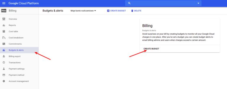 google cloud platform budżet