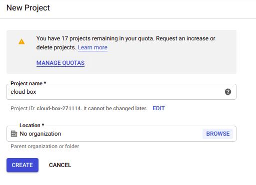 google cloud platform nowy projekt