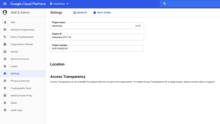google cloud platform ustawienia projektu