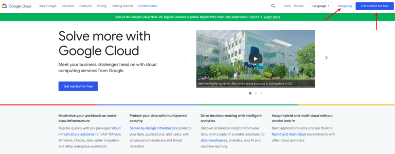 rejestracaj konta google cloud platform 1