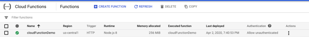 cloud functions - nowa funkcja