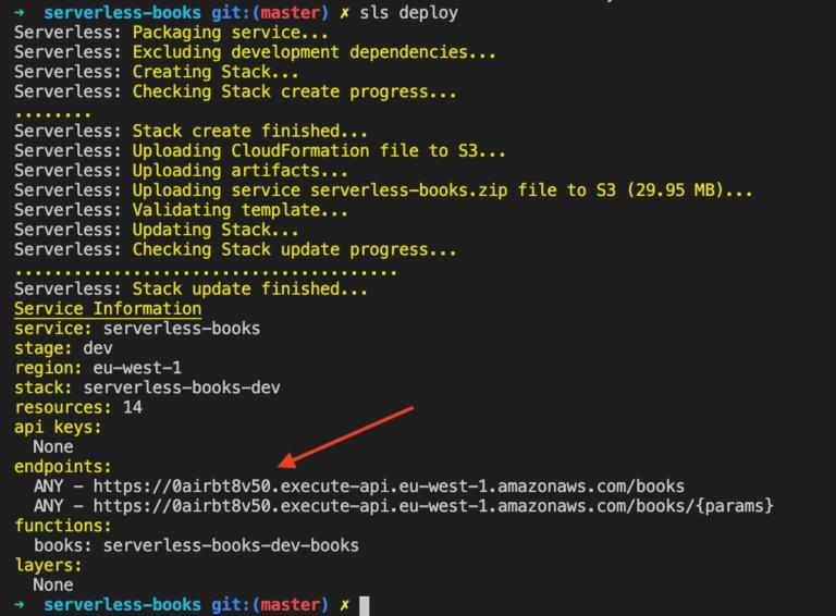 serverless framework output